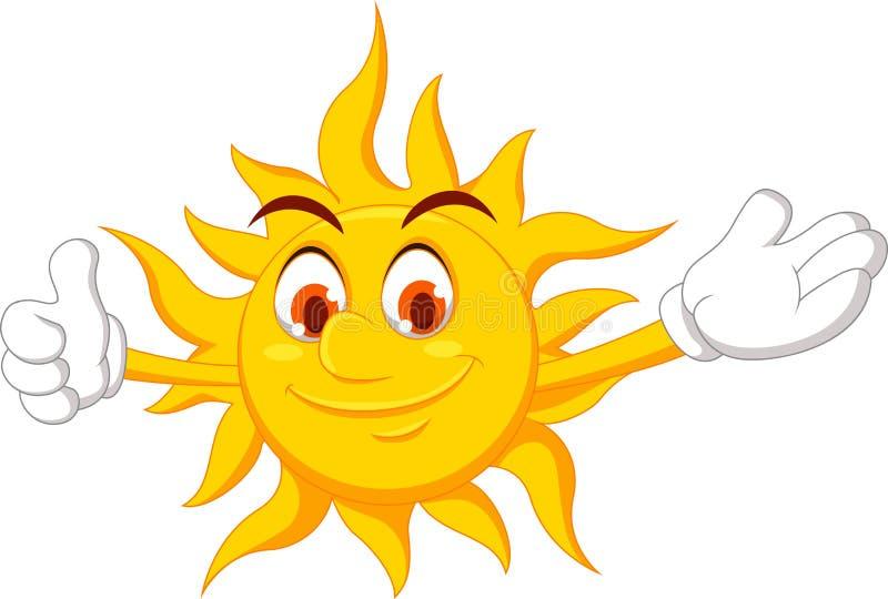 Personaje de dibujos animados de Sun con el pulgar para arriba libre illustration