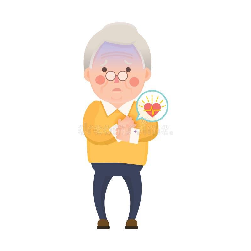 Personaje de dibujos animados del ataque del corazón al viejo hombre stock de ilustración