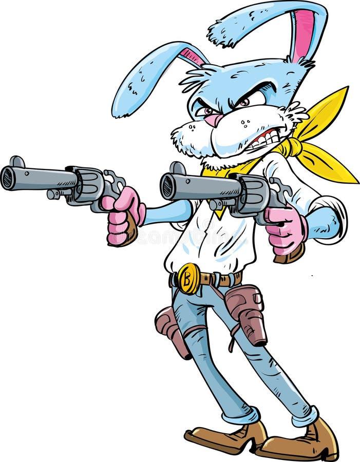Personaje de dibujos animados del conejito del vaquero ilustración del vector