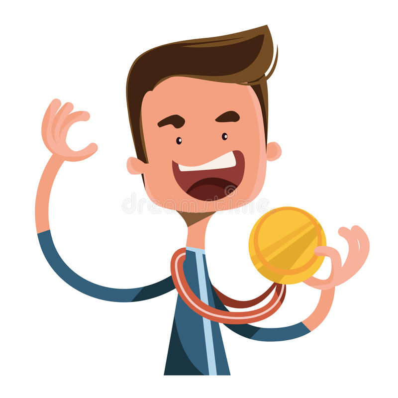 Personaje de dibujos animados del ejemplo del ganador de la alegría de la medalla de oro foto de archivo libre de regalías