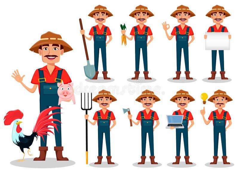 Personaje de dibujos animados del granjero, sistema Jardinero o ranchero hermoso libre illustration