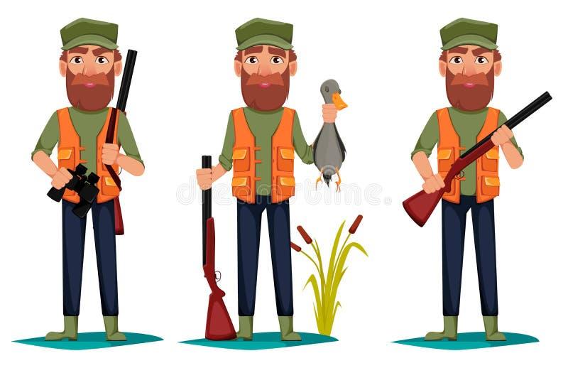 Personaje de dibujos animados del hombre del cazador, sistema de tres actitudes stock de ilustración