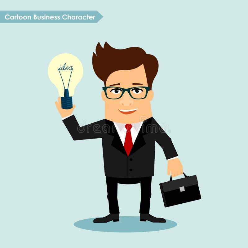 Personaje de dibujos animados del hombre de negocios que celebra el ejemplo del vector del símbolo de la lámpara de la idea libre illustration