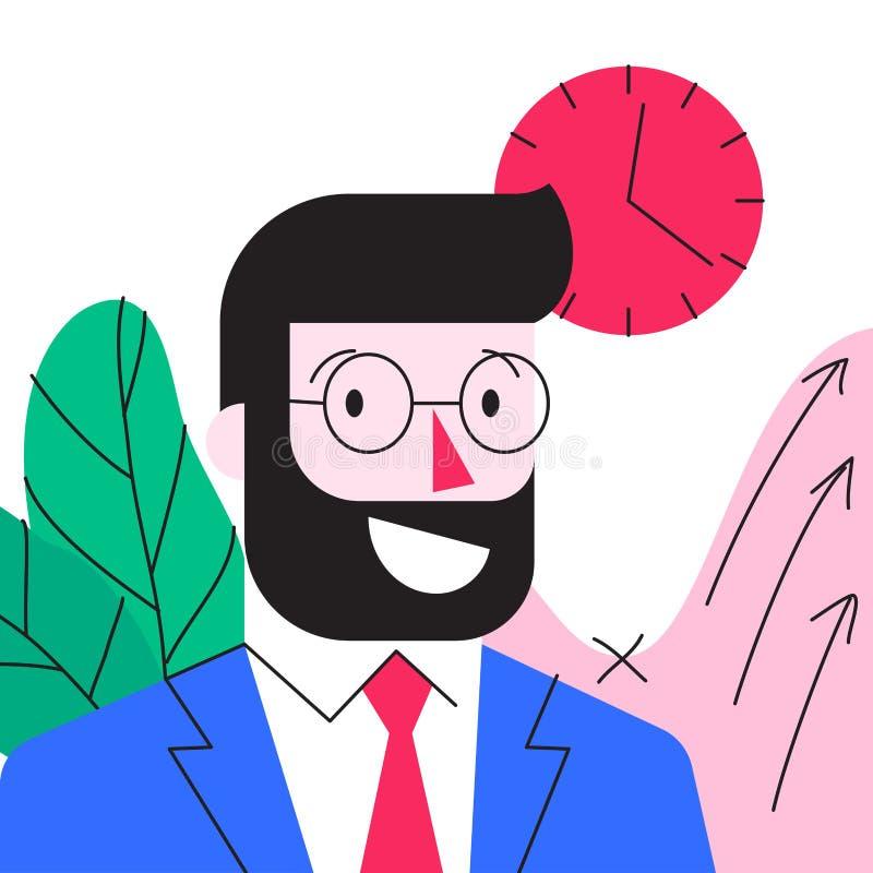 Personaje de dibujos animados del hombre de negocios barbudo joven sonriente en oficina libre illustration
