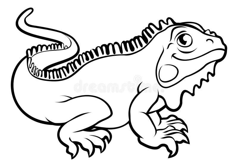 Personaje de dibujos animados del lagarto de la iguana ilustración del vector