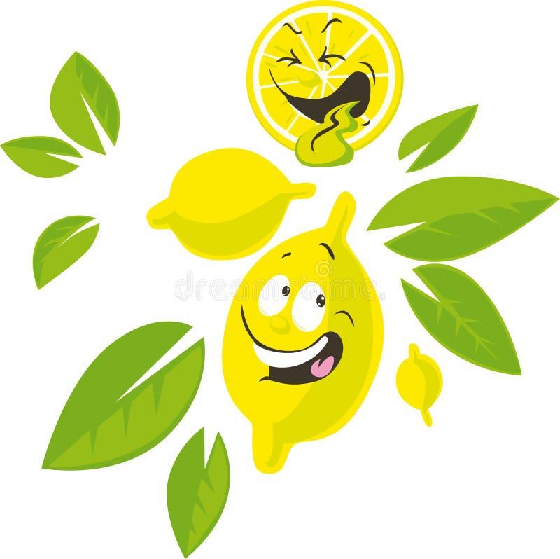 Personaje de dibujos animados del limón con la cara divertida - ejemplo del vector ilustración del vector