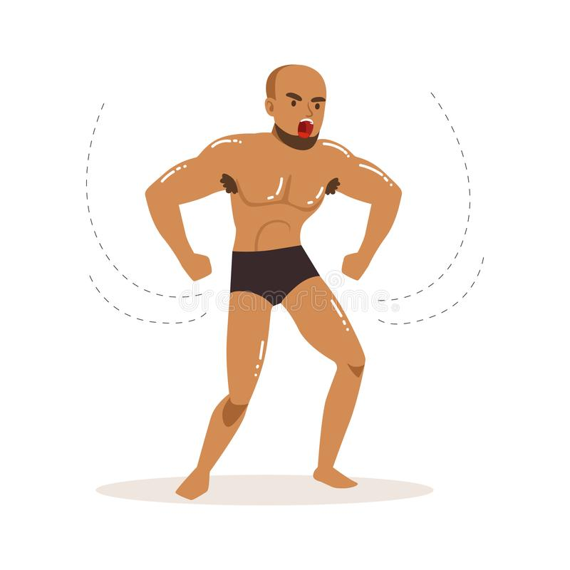 Personaje de dibujos animados del luchador enojado en la acción de la lucha ilustración del vector