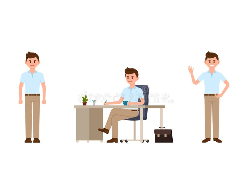 Personaje de dibujos animados del oficinista Vector el ejemplo de la escritura, situación, agitando al encargado ilustración del vector