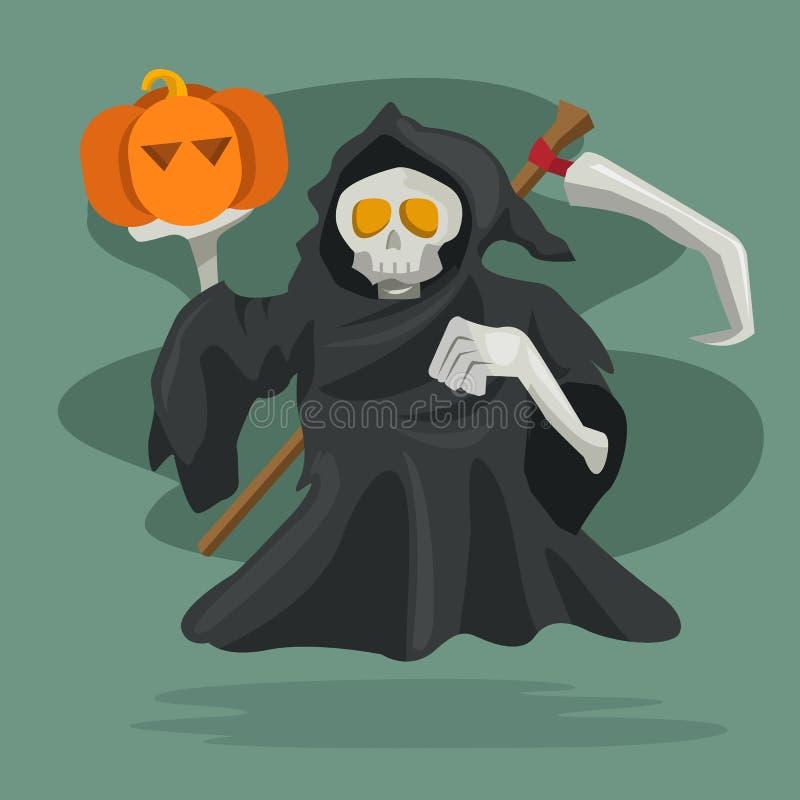 Personaje de dibujos animados del parca con la calabaza Ejemplo del vector, feliz Halloween stock de ilustración