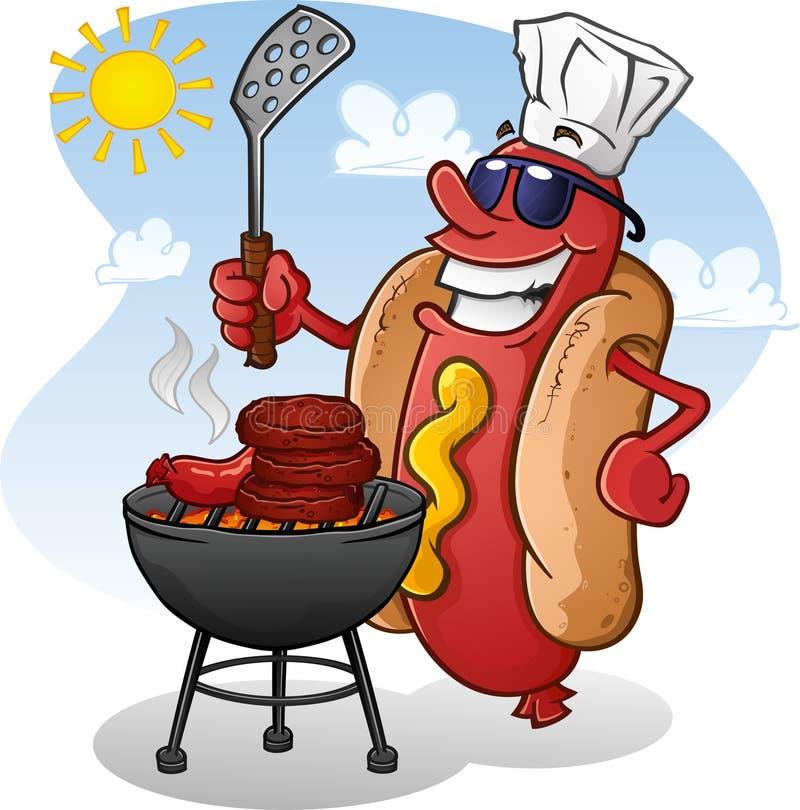 Personaje de dibujos animados del perrito caliente con las gafas de sol que asa a la parrilla en Sunny Summer Day libre illustration