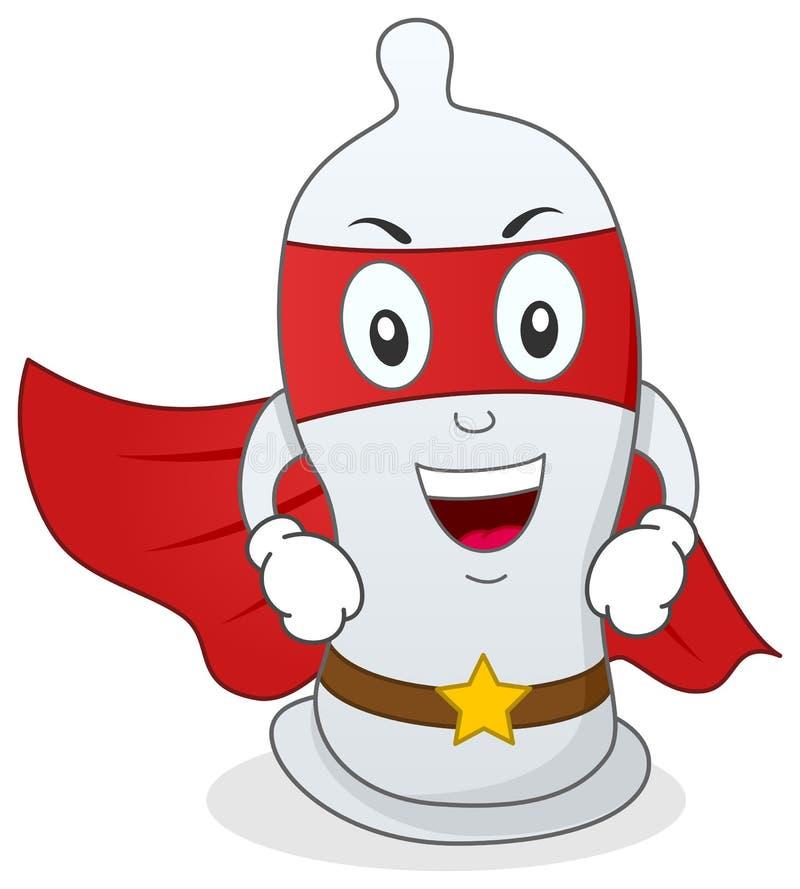 Personaje de dibujos animados del super héroe del condón ilustración del vector