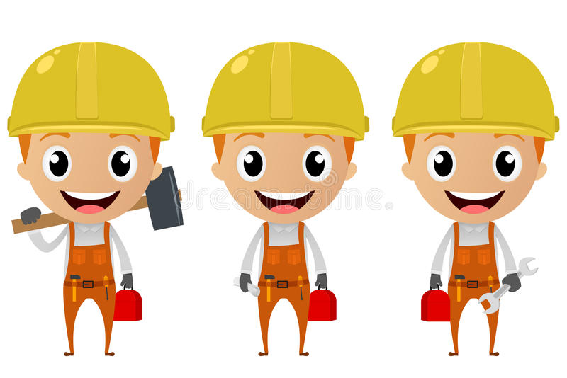 Personaje de dibujos animados del trabajador de construcción libre illustration