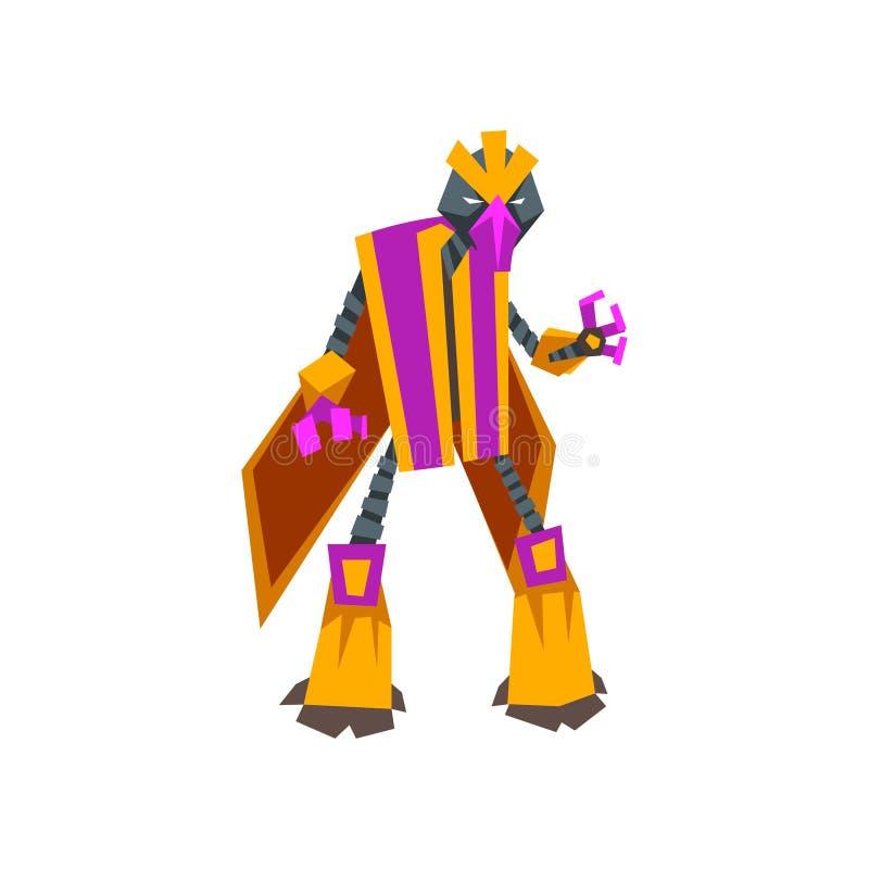 Personaje de dibujos animados del transformador fantástico del robot Monstruo futurista con el cuerpo del metal Diseño plano aisl stock de ilustración