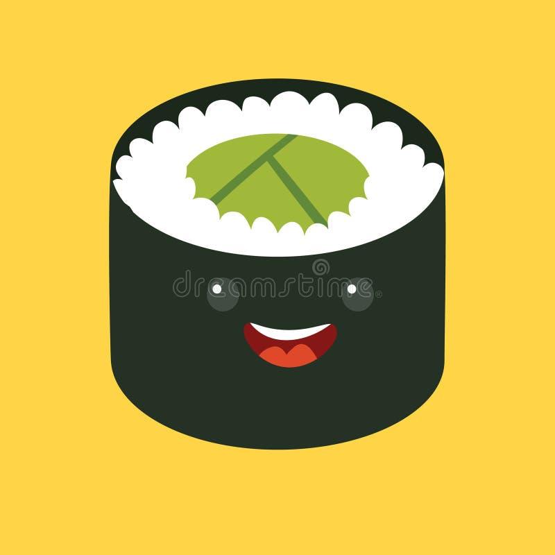 Personaje de dibujos animados del vector del sushi de la diversión Rollo de sushi lindo Comida japonesa stock de ilustración