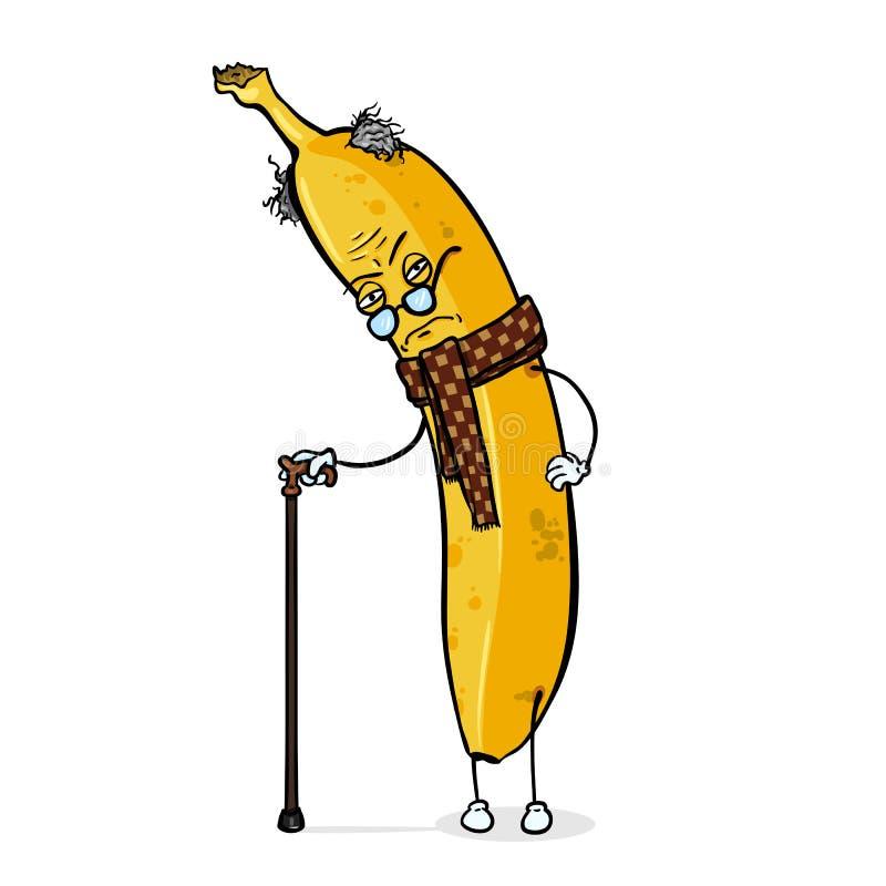 Personaje de dibujos animados del vector - plátano malhumorado viejo stock de ilustración