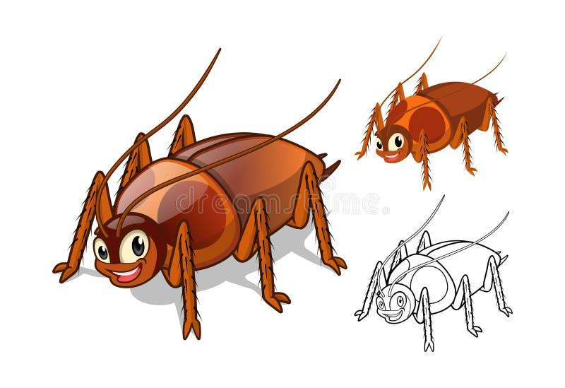 Personaje de dibujos animados detallado de la cucaracha con diseño y línea plana Art Black y versión blanca stock de ilustración