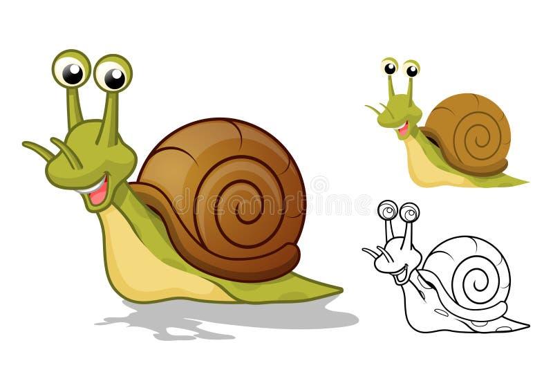 Personaje de dibujos animados detallado del caracol con diseño y línea plana Art Black y versión blanca ilustración del vector