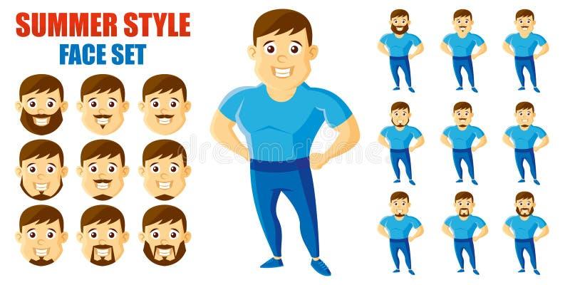 Personaje de dibujos animados determinado de la cara del hombre del estilo del verano libre illustration