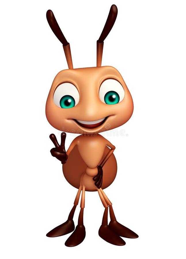 personaje de dibujos animados divertido de la hormiga linda stock de ilustración