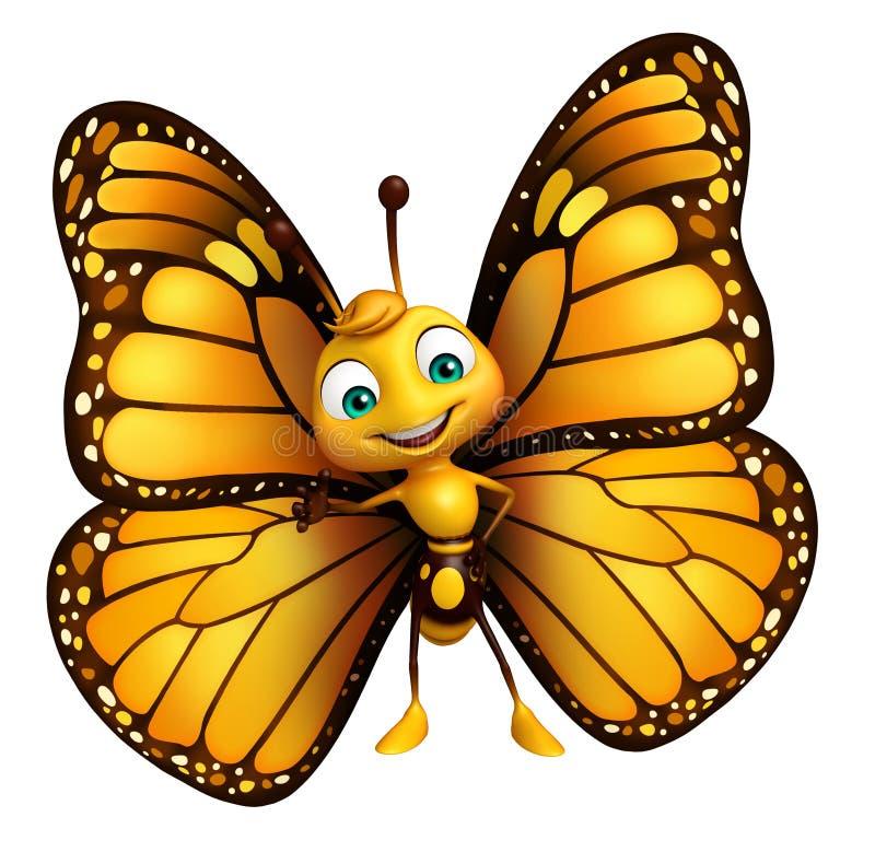 personaje de dibujos animados divertido de la mariposa stock de ilustración
