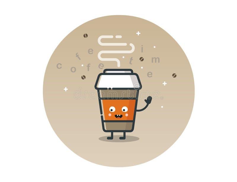 Personaje de dibujos animados divertido de la taza de café del vector imagen de archivo