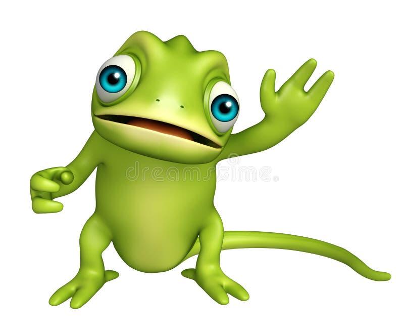 Personaje de dibujos animados divertido del camaleón lindo libre illustration