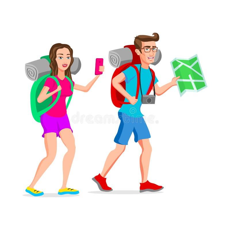 Personaje de dibujos animados divertido del inconformista turístico de la mujer y del hombre Ejemplo del vector de un dise?o plan ilustración del vector