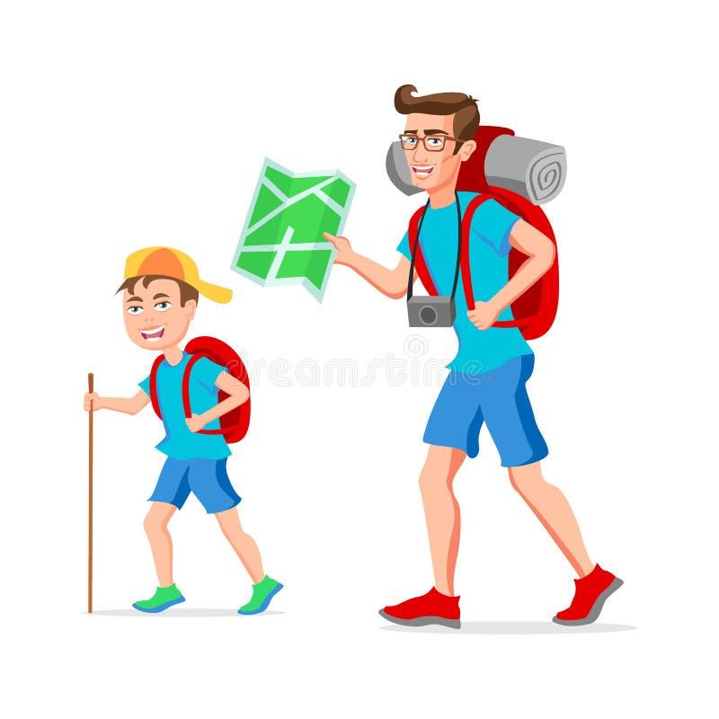 Personaje de dibujos animados divertido del inconformista turístico del padre y del hijo Ejemplo del vector de un dise?o plano Ai stock de ilustración