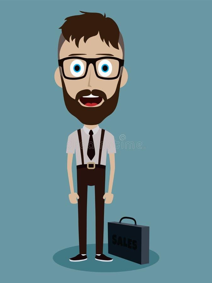 personaje de dibujos animados divertido del individuo del vendedor de la oficina del hombre de negocios ilustración del vector