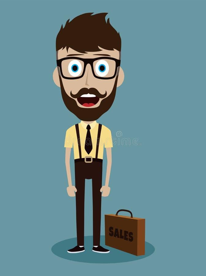 personaje de dibujos animados divertido del individuo del vendedor de la oficina del hombre de negocios stock de ilustración