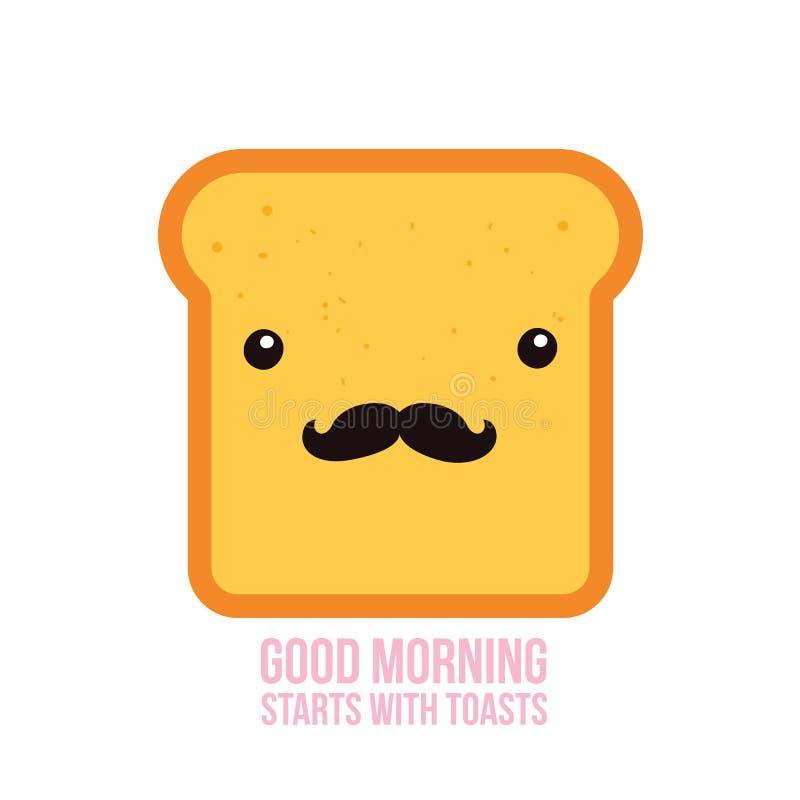 Personaje de dibujos animados divertido del pan de la tostada del inconformista con el bigote stock de ilustración