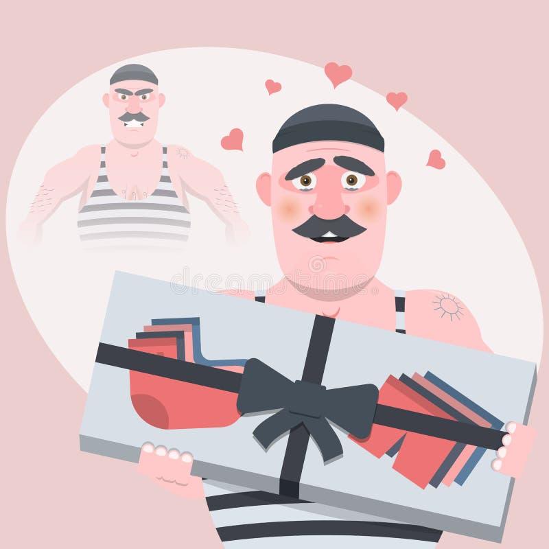 Personaje de dibujos animados divertido Sin un regalo era malvado, con una clase del regalo, tranquila y en amor Ilustración del  stock de ilustración