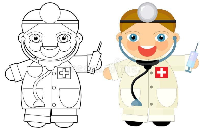 Personaje De Dibujos Animados - Doctor - Libro De Colorear Stock de ...