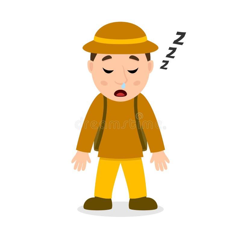Personaje de dibujos animados durmiente del arqueólogo stock de ilustración
