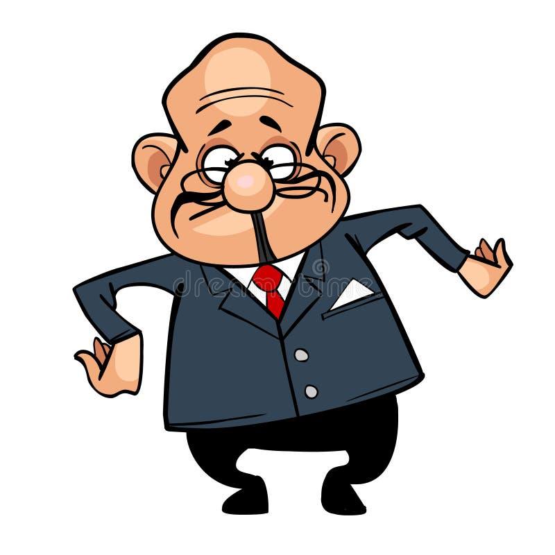 Personaje de dibujos animados el hombre calvo del director en un traje, bailando stock de ilustración