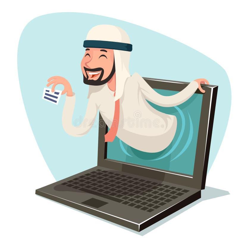 Personaje de dibujos animados en línea del monitor de computadora del anuncio de la presentación del hombre de negocios de Intern libre illustration