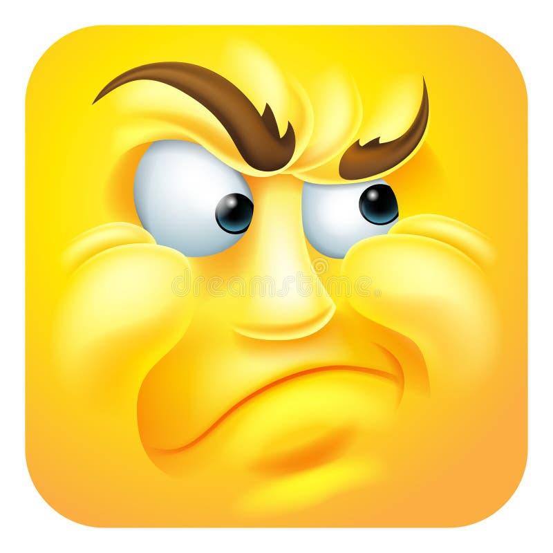 Personaje de dibujos animados enfadado del icono del Emoticon de Emoji stock de ilustración
