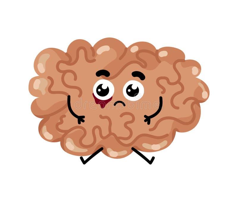 Personaje De Dibujos Animados Enfermo Humano Del Cerebro Ilustración ...