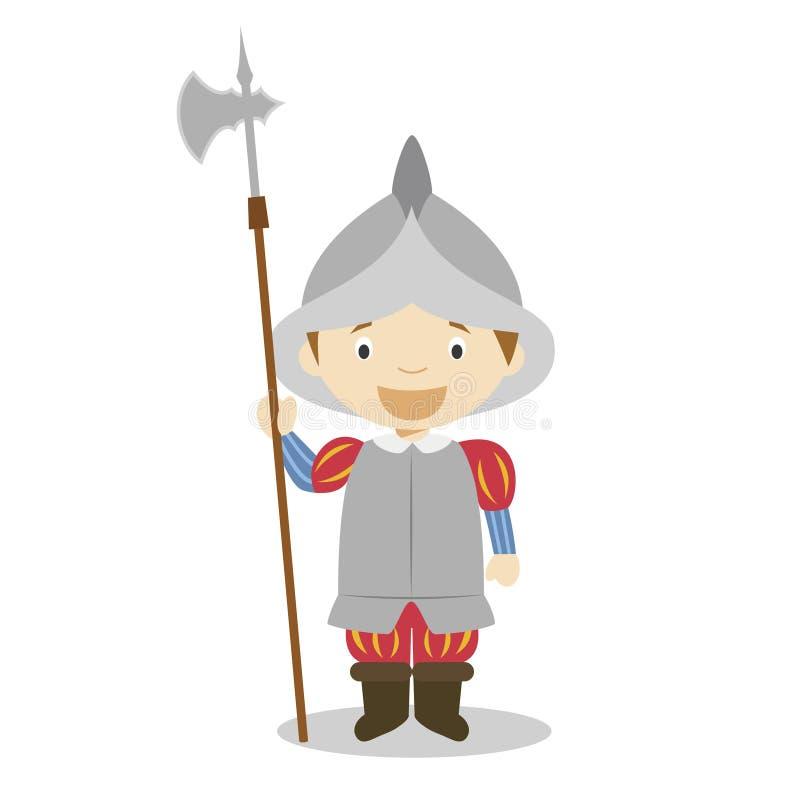 Personaje de dibujos animados español del soldado del imperio Ilustración del vector stock de ilustración
