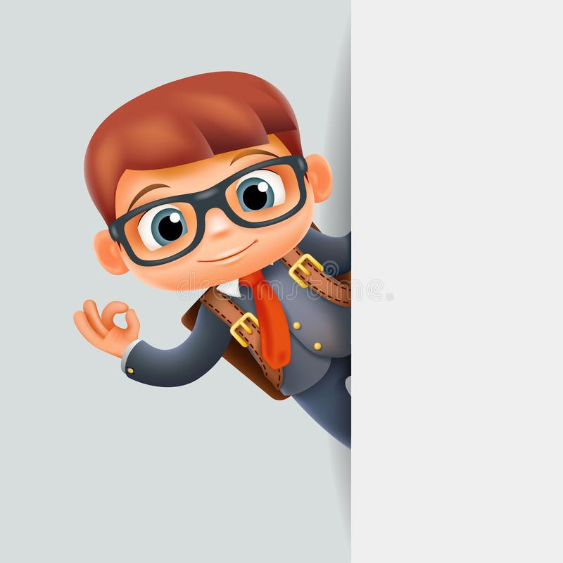Personaje De Dibujos Animados Excelente Del Escondrijo 3d Del Alumno De La  Escuela Del Estudiante De Mano Del Gesto De La Esquina Ilustración del  Vector - Ilustración de escuela, escondrijo: 123402902