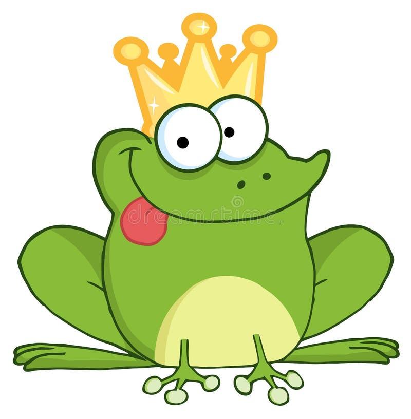 Personaje de dibujos animados feliz del príncipe de la rana ilustración del vector