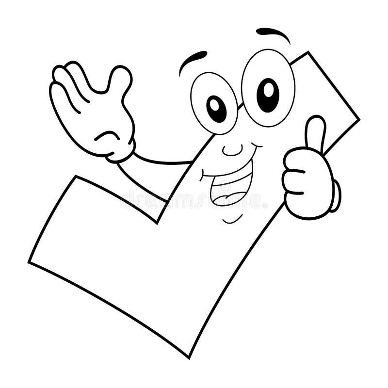 Personaje De Dibujos Animados Feliz Del Sí Que Colorea Ilustración ...