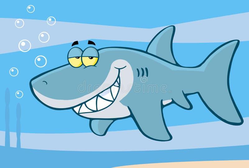 Personaje de dibujos animados feliz del tiburón ilustración del vector