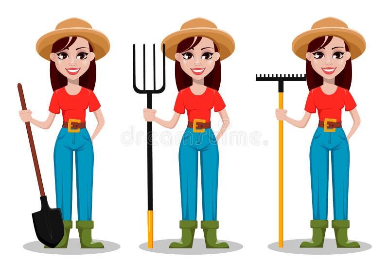 Personaje de dibujos animados femenino del granjero, sistema de tres actitudes libre illustration