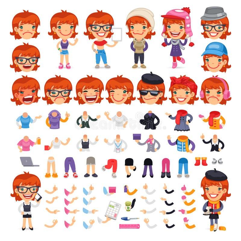 Personaje de dibujos animados femenino ocasional vestido stock de ilustración