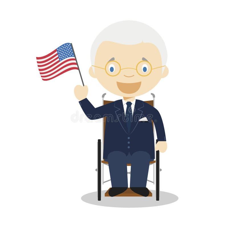 Personaje de dibujos animados de Franklin D Roosevelt Ilustración del vector ilustración del vector