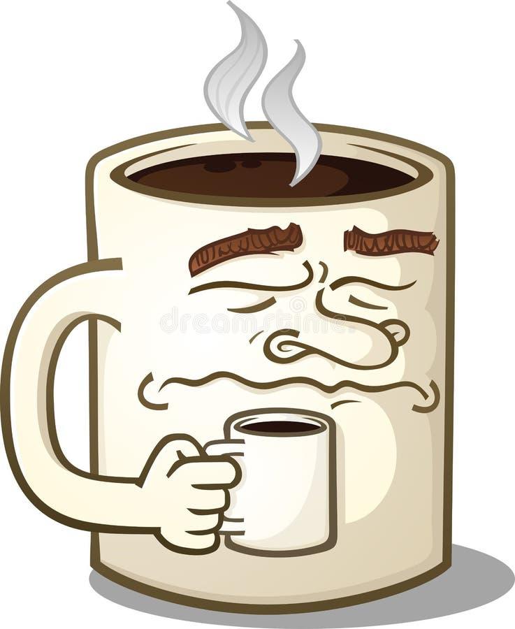 Personaje de dibujos animados gruñón de la taza de café que sostiene una taza más pequeña stock de ilustración