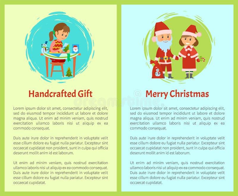 Personaje de dibujos animados Handcrafted de la Feliz Navidad del regalo ilustración del vector