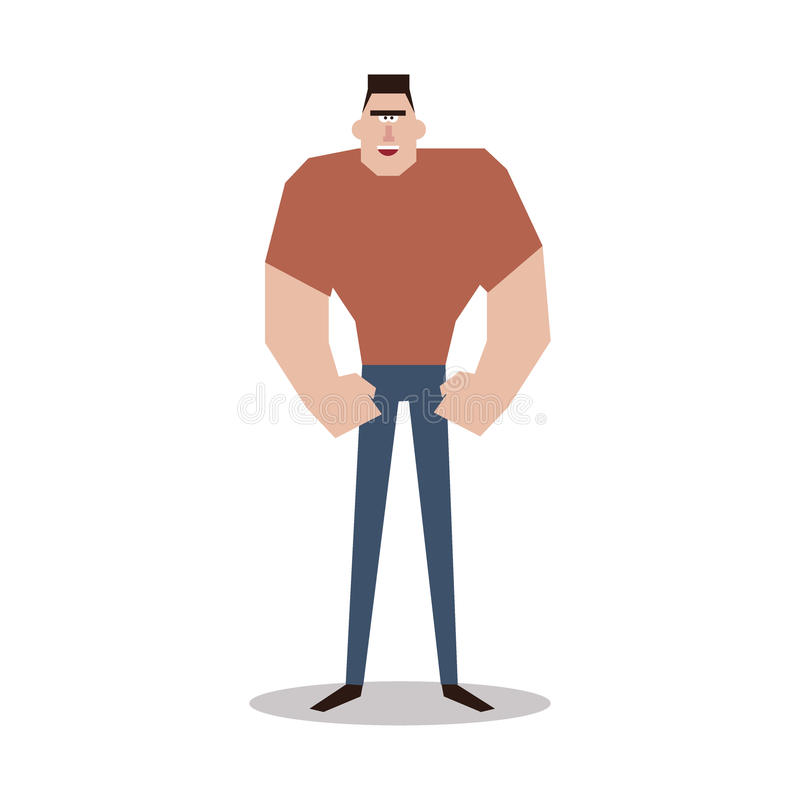 Personaje De Dibujos Animados, Hombre Muscular, Stock de ilustración ...