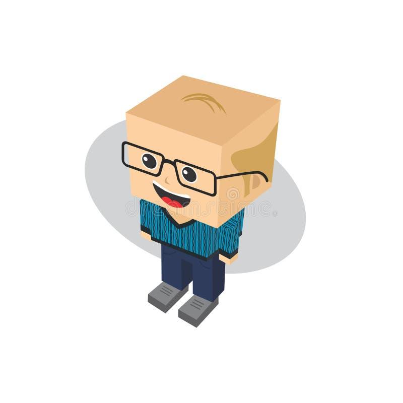 Personaje de dibujos animados isométrico del bloque libre illustration